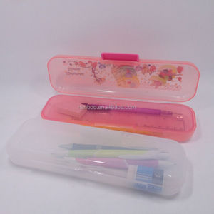 Logo printed cheap plastic pencil case with eraser and mechanical pencil