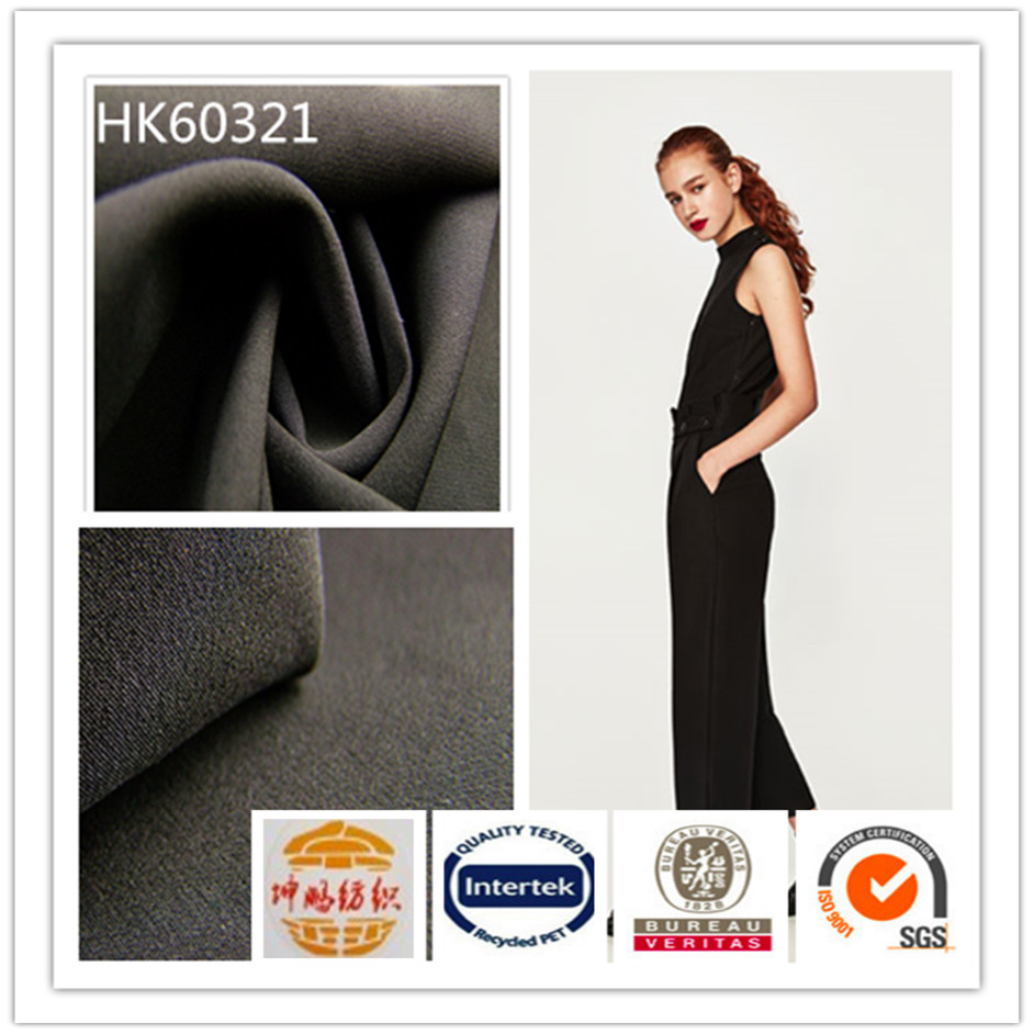 wujiang 75D twill dyed black high elastic anti-static 88%polyester 12%spandex stretch fabric for pants