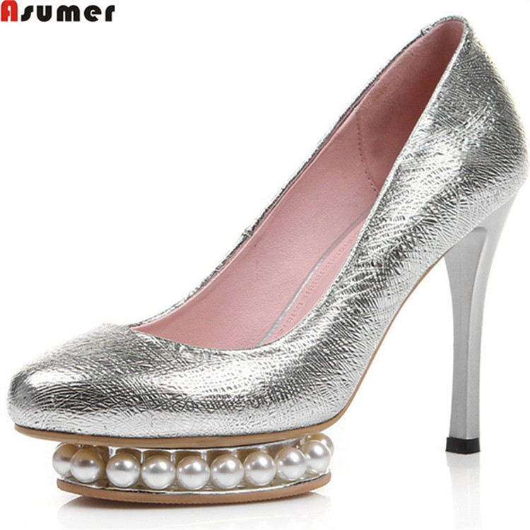 women for heels wedding Asumer platform genuine leather pearl FnYwxqp04