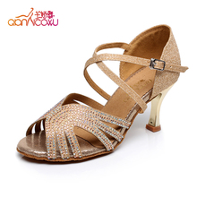 women latin dance genuine leather ladies high heel shoes