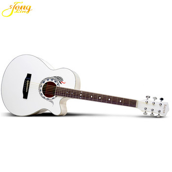 The White Colored Professional Prices 6 Strings Acoustic Guitar For