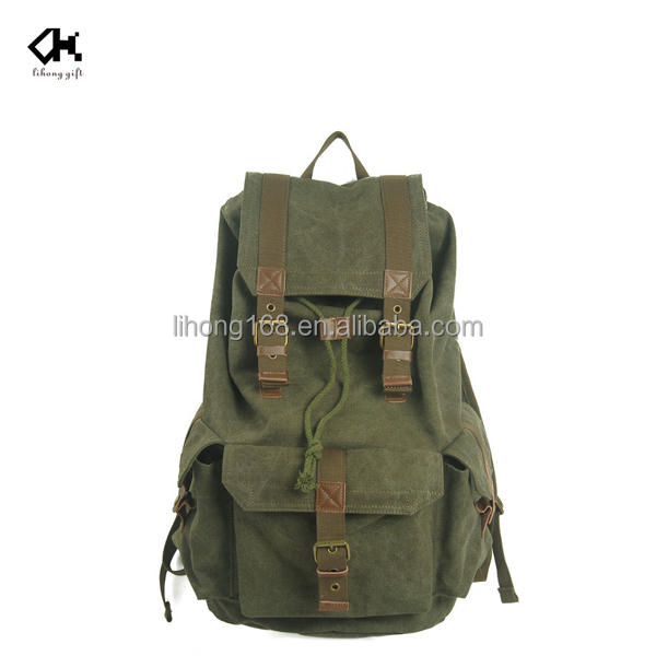 Promotion army green washed canvas backpack leather trim