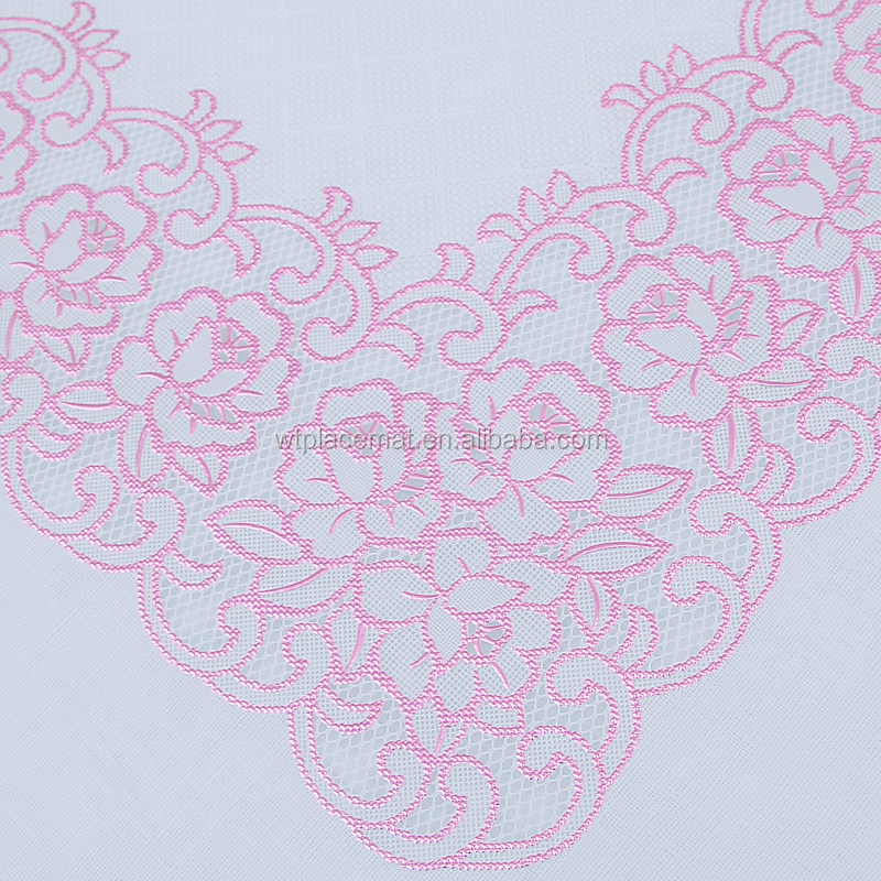 New Design Yiwu Cheap Lace Vinyl European Style Tablecloth Roll Metallic Red Plastic Cover for Table