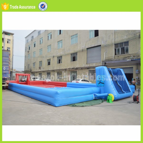 cheap price mini water football playground inflatable soap soccer field for sale