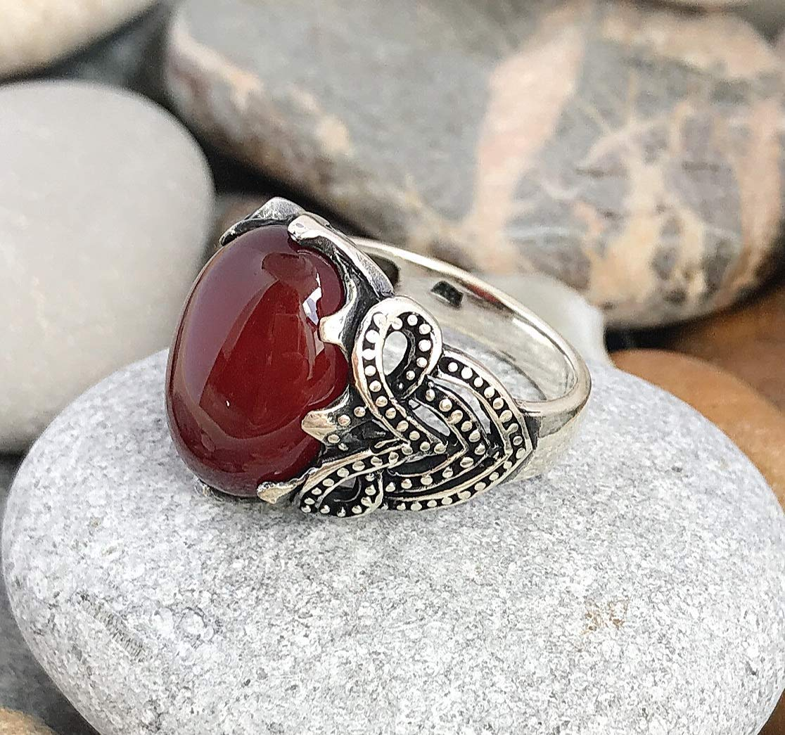 Handmade 925 Sterling Silver Natural Red Agate Stone Men's Woman's RING size U.S 11.5