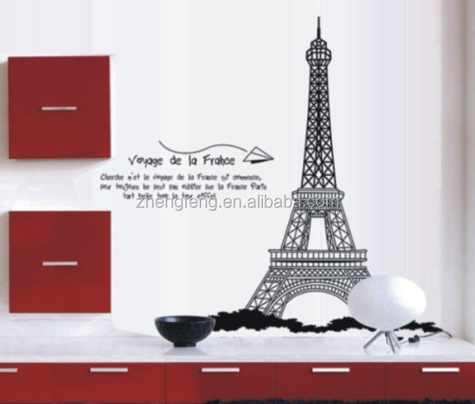... n317) l zwart eiffeltoren parijs sticker, muur voor de kamer decoratie