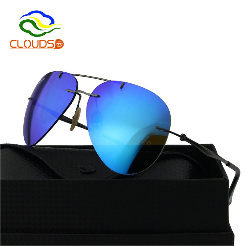 ac4ba5492f2 Get Quotations · Men Aviator Polarized Vintage Mirror Rimless Sunglasses  High Fashion Star Style Famous Designer Brands Sunglasses With