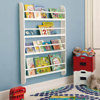 White Kids Wooden Wall Bookcase Storage Furniture