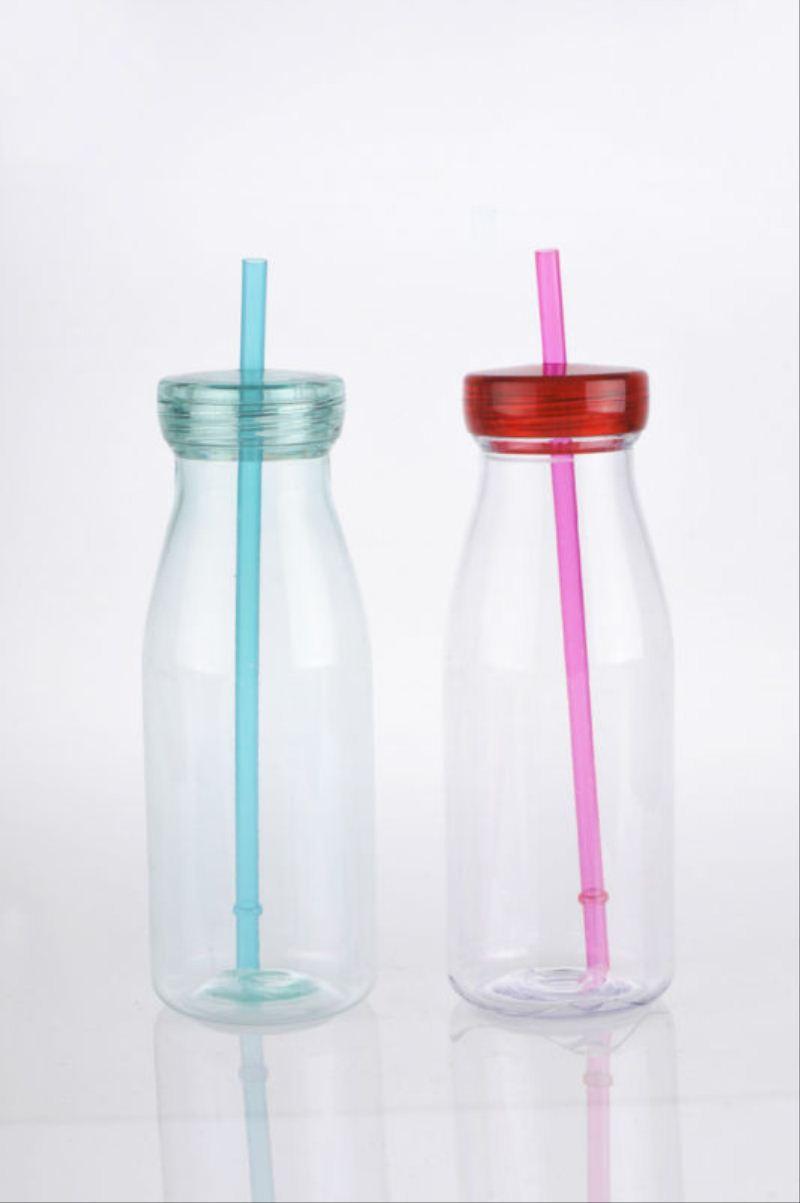 350ml Plastic Water Bottle With Straw Milk Bottle Design