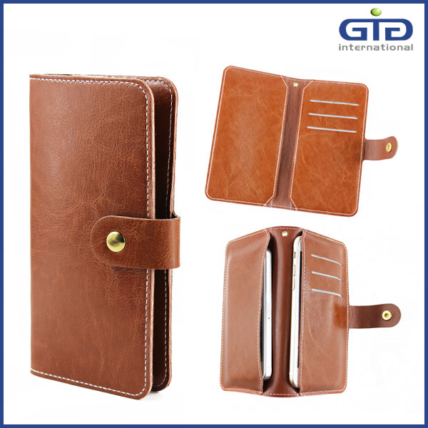 Real Leather Wallet Universal Case Flip Cover for Mobile Phone