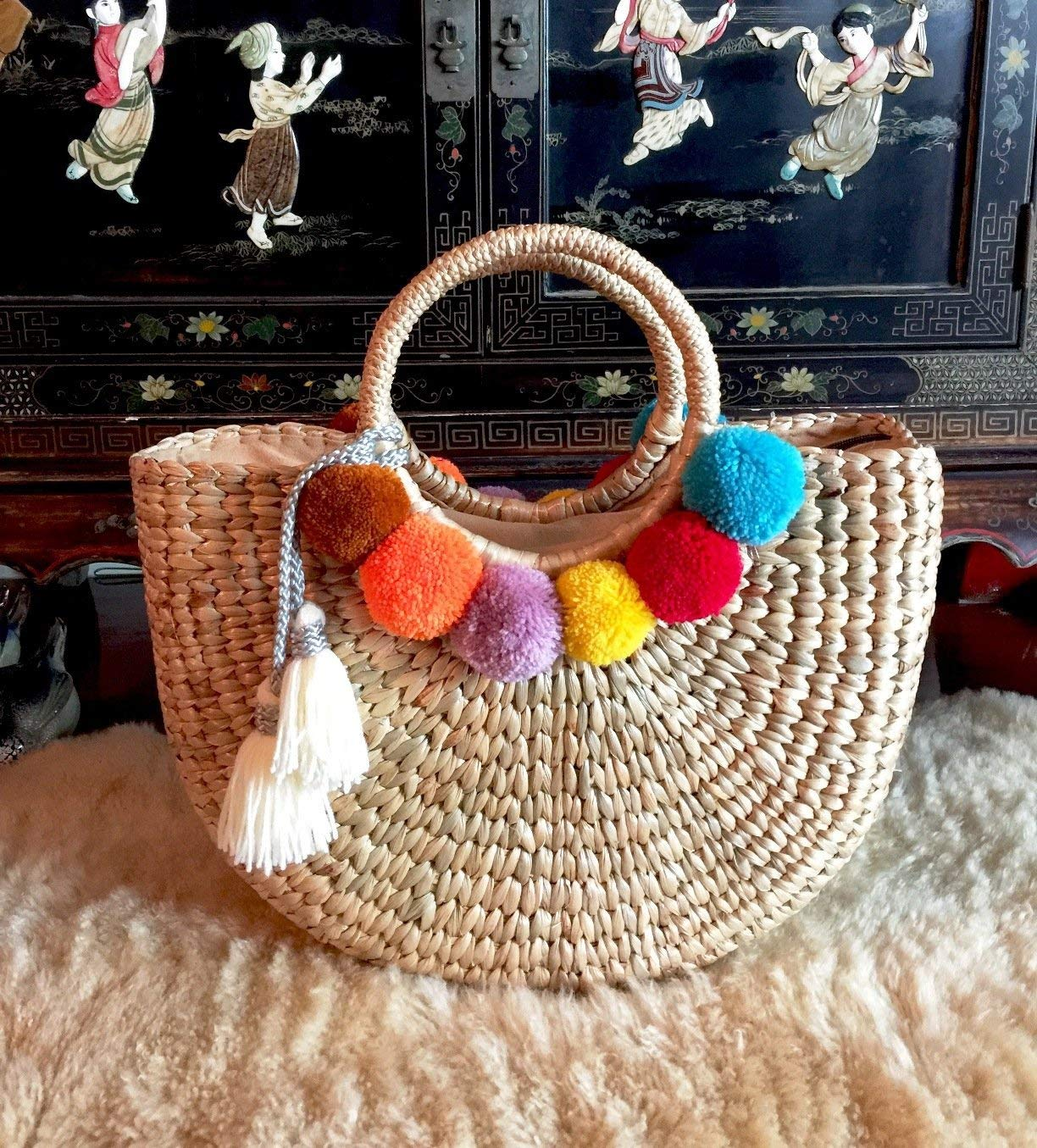 Get Quotations Pom Straw Bag Bags For Women Basket