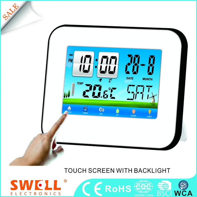 a touch screen american special stylish wall clock , birthday remind timer clock