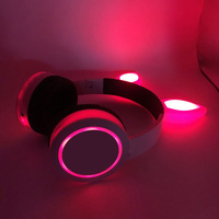 High Quality Wholesale Rabbit/Cat Ears Headsets Color-change Glowing foldable Kids Headphones