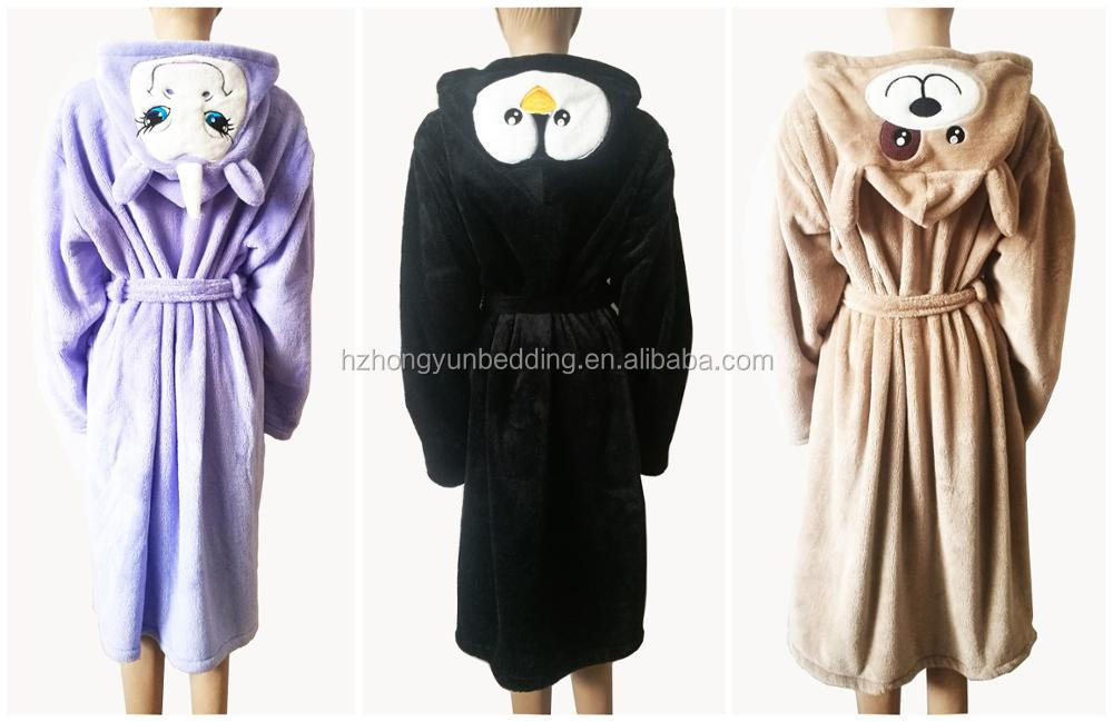 Ladies Snuggle Fleece Dressing Gown Novelty Unicorn Hooded Spa Robe ...