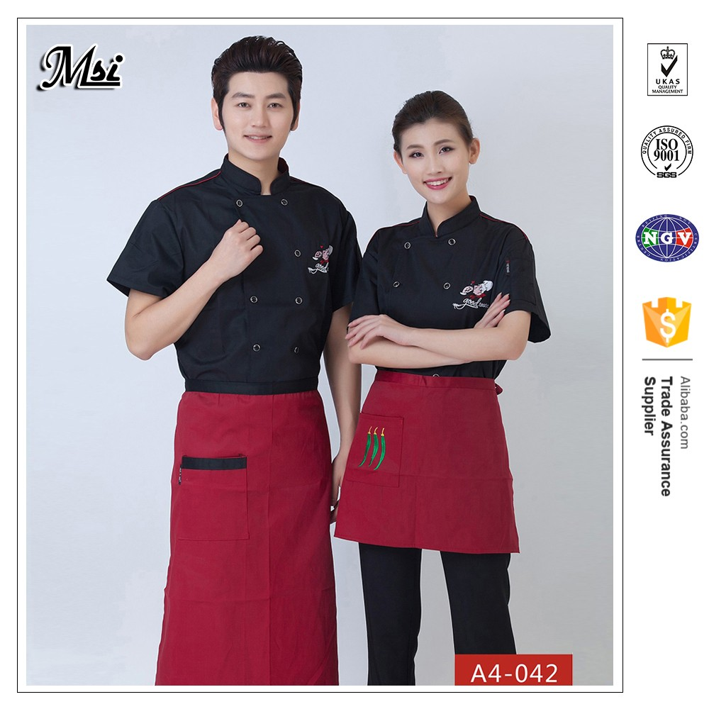 Wholesale China manufacture catering hotel restaurant chef clothing aprons server uniforms