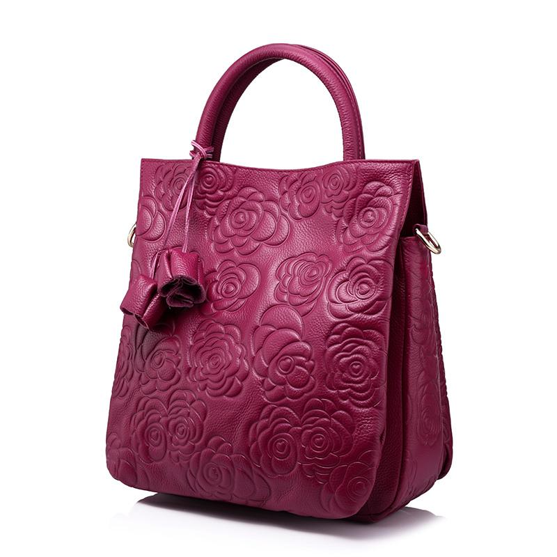 Realer Кроссбоди натуральная кожа женские сумки кожаная черная сумка Высокое качество Цветочные тиснением Сумочка Дамы Сумка(Китай)