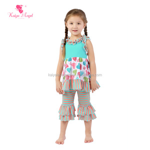 latest fashion baby girls summer clothes cotton stripe print holiday sets baby valentine outfits