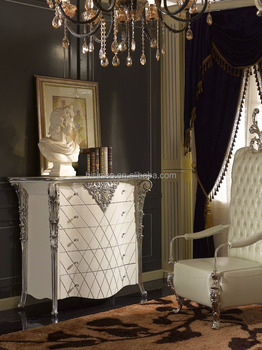 Louis Xvi Style Vintage Furniture Luxury Bedroom White And Silver Color Chest Of Five Drawers Cabinet View Drawer