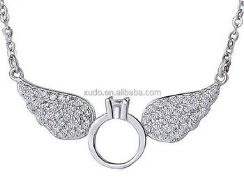 free shipping hot sale silver angel wing pendant choker necklace