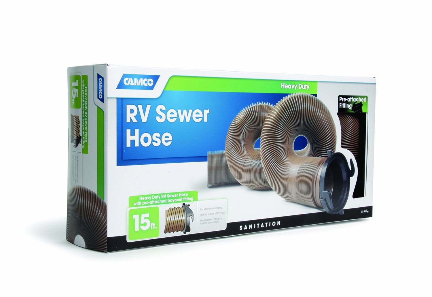 Camco 39691 HTS 15' Heavy-Duty Sewer Hose with Straight Hose Adapter