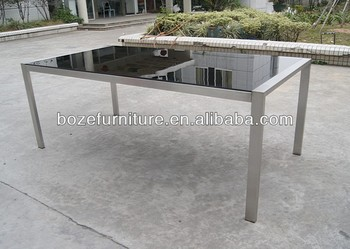 Black Tempered Glass Stainless Steel Outdoor Dining Table