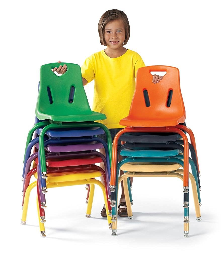 """Berries 8118JC6251 Stacking Chairs with Powder-Coated Legs, 8"""" Ht, 15.5"""" Height, 17.5"""" Wide, 16.5"""" Length, Camel (Pack of 6)"""