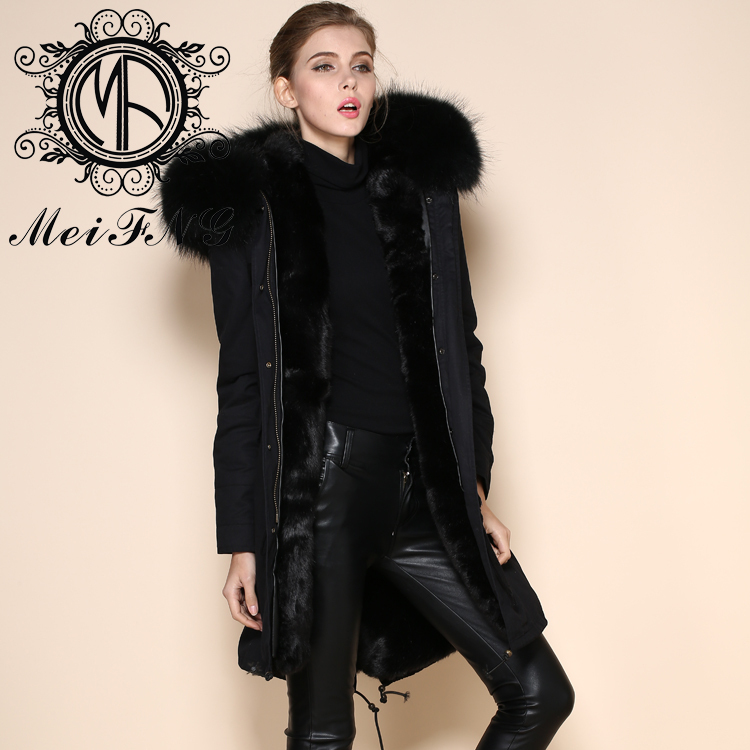 Wholesale nobel design rabbit fur lining real fur hooded winter