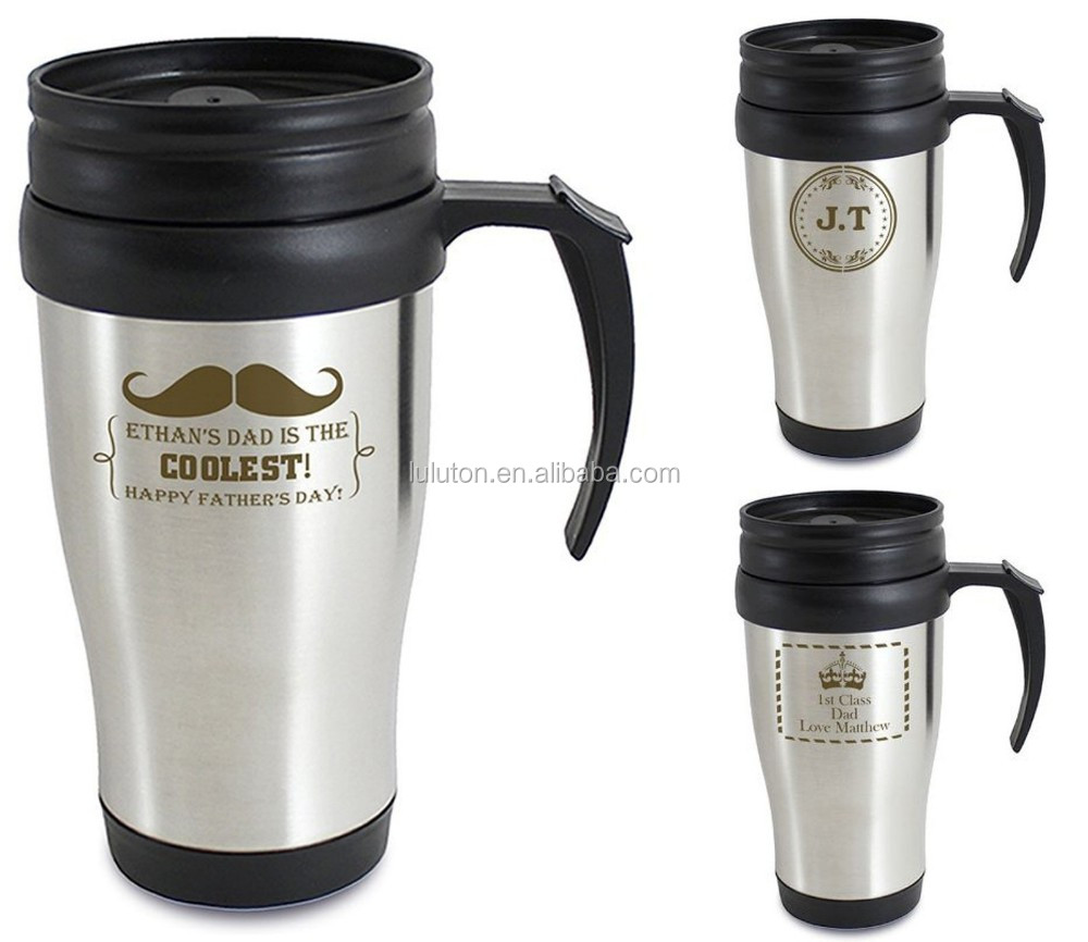 insulated 400ml green travel mugs with handle and lids