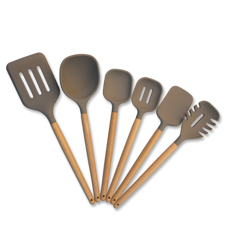 6-piece Silicone Kitchen Utensil Sets With Beech Wood Handle Included Ladle/Turner/Spoon/Slotted Spoon/Pasta Server