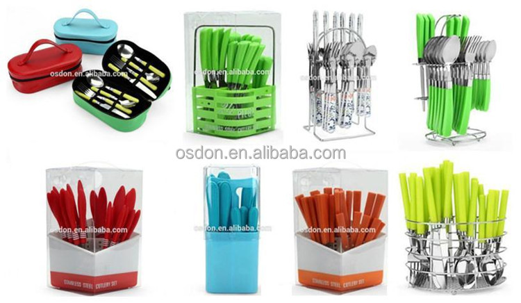 Jieyang Colored Handle Flatware /stainless Steel Plastic Handle Flatware Set