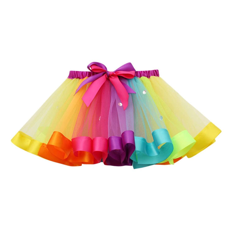 9fefe12b1 Get Quotations · Chanyuhui Toddler Kids Baby Girls Clothes 1Pcs Fluffy  Rainbow Tutu Skirt Princess Dance Ballet Tutu Skirts