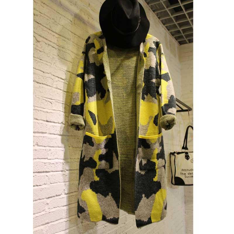 Long Sleeve Sweater Women Autumn font b Winter b font Fashion Coat New Camouflage Long Knitted
