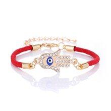Женский Классический Браслет «злой глаз», регулируемый браслет с маленькой ножкой-бабочкой и цепочкой, богемный браслет(Китай)