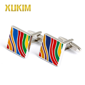 KMC006 Xukim Colorful Rainbow Enamel Luxury Brand Cufflinks and Wholesale Cutom Logo Simple Cufflink