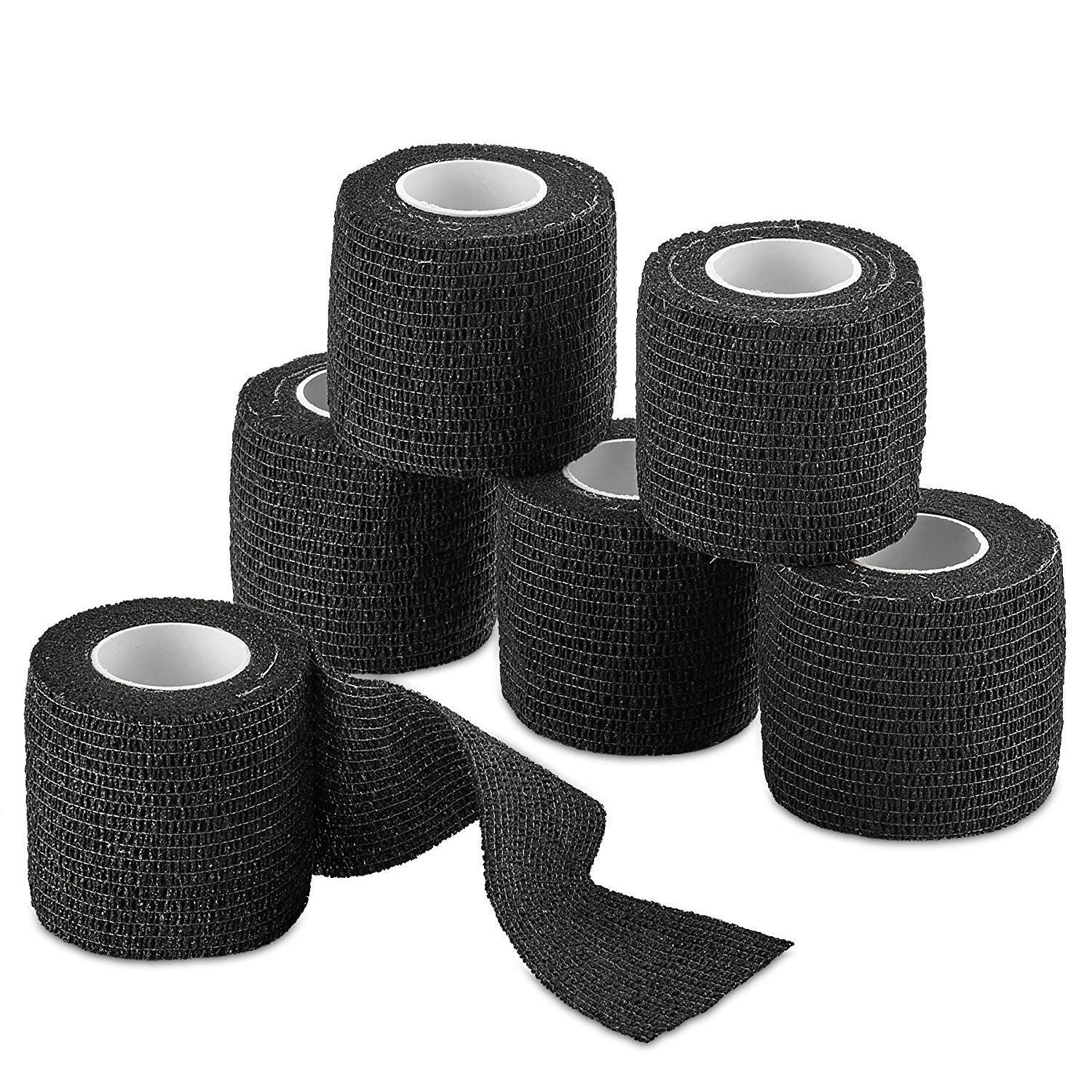 """12-Pack, Black 2"""" x 5 Yards, Self-Adherent Cohesive Tape, Strong Sports Tape for Wrist, Ankle Sprains & Swelling, Self-Adhesive Bandage Rolls"""