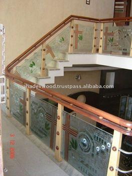 Minimum Price Wooden Glass Stair Design