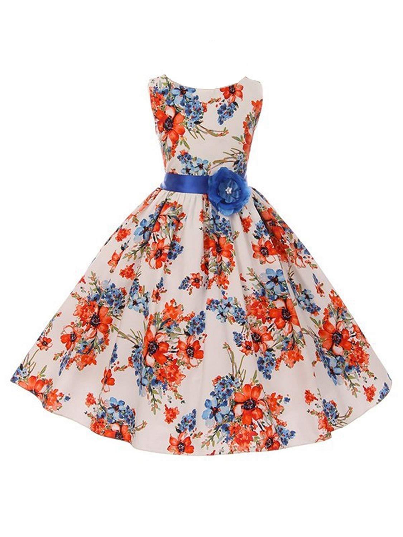 Cheap blue and white floral print dress find blue and white floral kiki kids little girls white blue floral print adorned tea length flower girl dress 2 izmirmasajfo