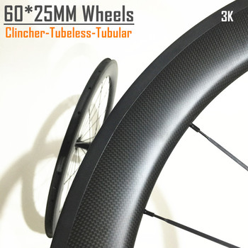 High TG material wheels WL-R60C-25 Chinese 60mm clincher 25 wide carbon race wheels