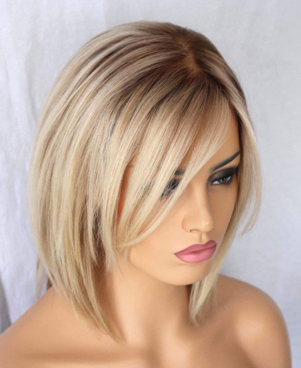 Hot Indian Ombre Blonde Human Hair Short Bob Wig For White