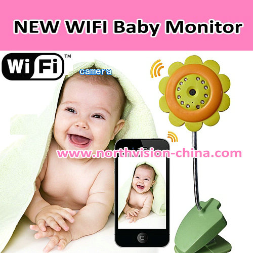 flower type two way talk night vision wifi baby monitor with video recording, app for iphone/android