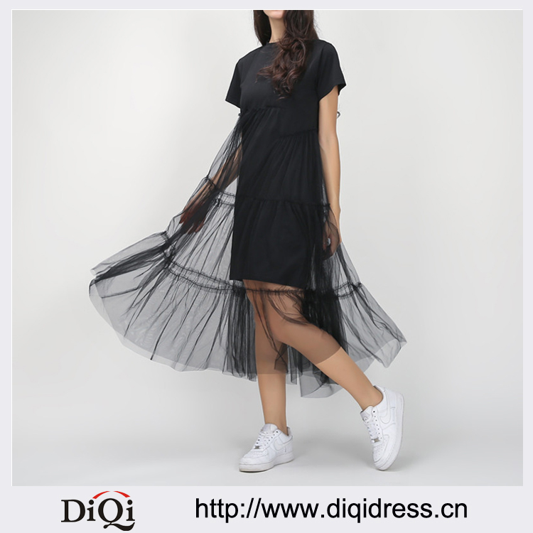 Summer Korean Plus Size Splicing Pleated Mesh T shirt Dress Women Black Gray Color Clothing New Fashion
