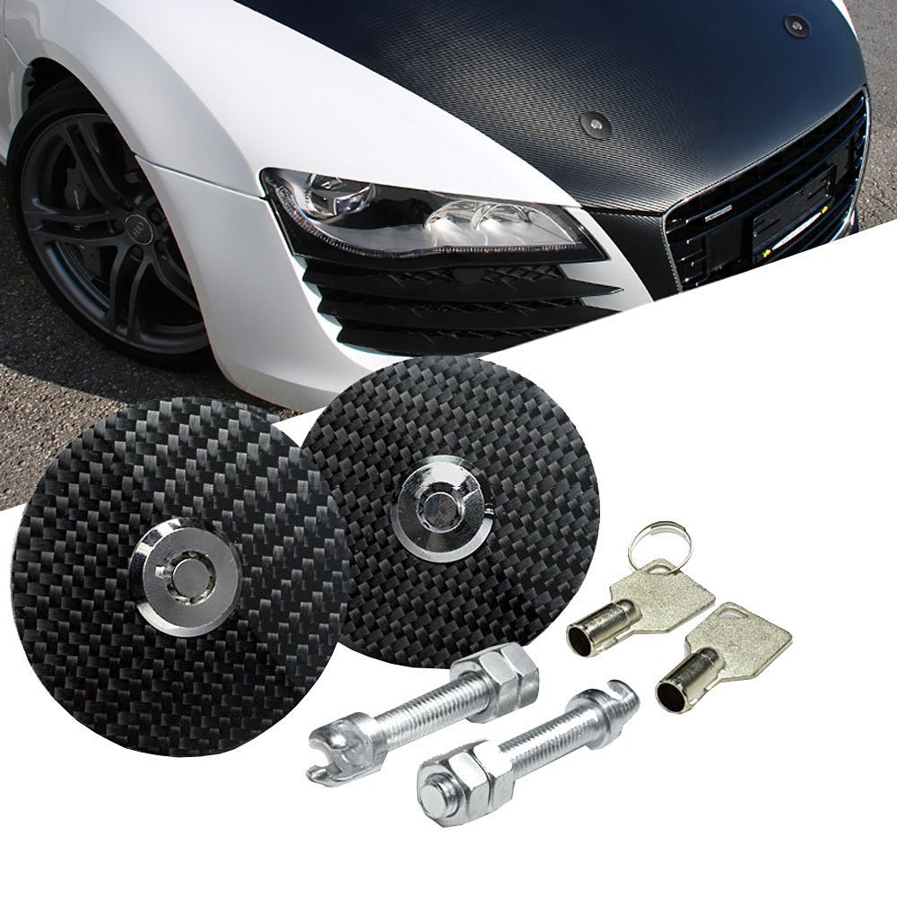 """iJDMTOY JDM Racing Style 2.5"""" Black Real Carbon Fiber Hood Latch Pins w/ Lock-able Keys, Universal Fit For Any Car"""