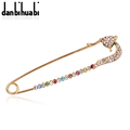 Rose Gold Safety Pin Brooch Jewelry Fashion Rhinestone Animal Fox Brooches For Women Scarves Corsage Sweater