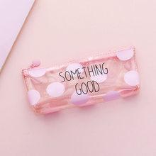 Розовый прозрачный пенал INS Kawaii Cat, милый мультяшный приятный на ощупь чехол для ручки, креативные Канцтовары для девочек, подарок, хорошие ш...(Китай)