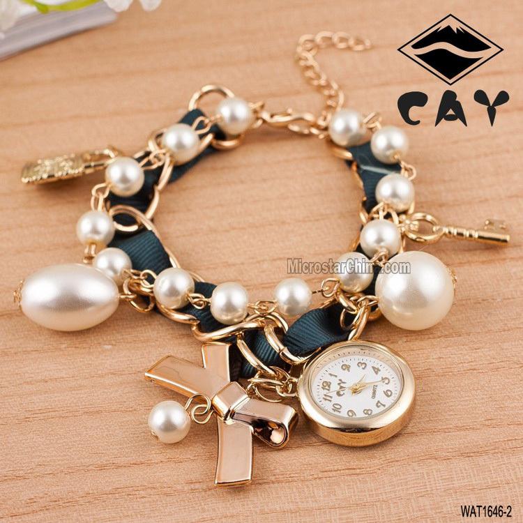 Gold Chain Rhinestone Pearl Charms Beautiful Ladies Watch - Buy ...
