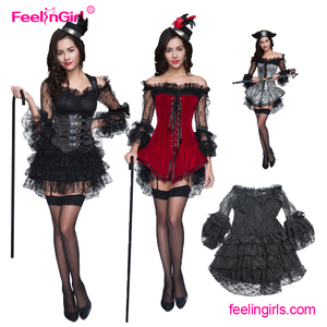 Sexy Gothic Vintage Ruffle Skirt Steampunk Corset Bustier Dress