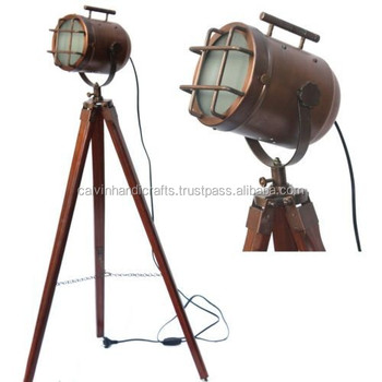 Vintage Ship Spotlight Model Floor Lamp Wooden Tripod
