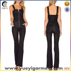 192705f86d9 ladies black denim overall jeans jumpsuit with front zip closure