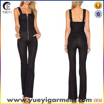 4f1d7ef8833 Ladies Black Denim Overall Jeans Jumpsuit With Front Zip Closure ...