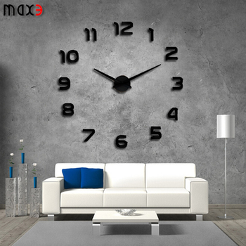 12S002 S MAX3 DIY Modern Design 3D Decorative Wall Clock Big Wall Clocks  For Sale
